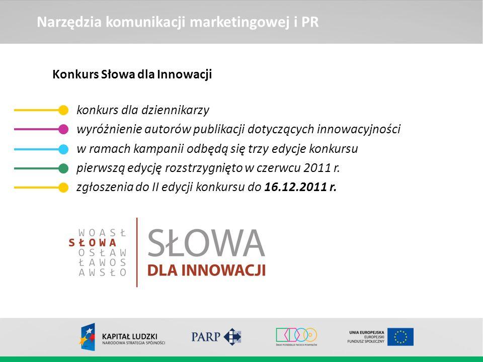 Narzędzia komunikacji marketingowej i PR Konkurs Słowa dla Innowacji konkurs dla dziennikarzy wyróżnienie autorów publikacji dotyczących innowacyjnośc