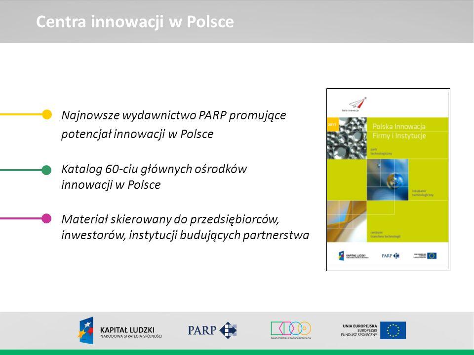 Centra innowacji w Polsce Najnowsze wydawnictwo PARP promujące potencjał innowacji w Polsce Katalog 60-ciu głównych ośrodków innowacji w Polsce Materi