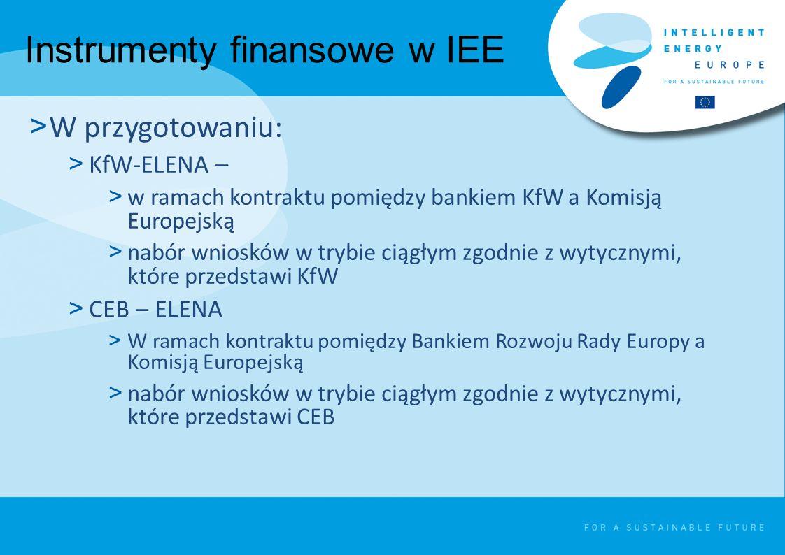 Instrumenty finansowe w IEE > W przygotowaniu: > KfW-ELENA – > w ramach kontraktu pomiędzy bankiem KfW a Komisją Europejską > nabór wniosków w trybie ciągłym zgodnie z wytycznymi, które przedstawi KfW > CEB – ELENA > W ramach kontraktu pomiędzy Bankiem Rozwoju Rady Europy a Komisją Europejską > nabór wniosków w trybie ciągłym zgodnie z wytycznymi, które przedstawi CEB