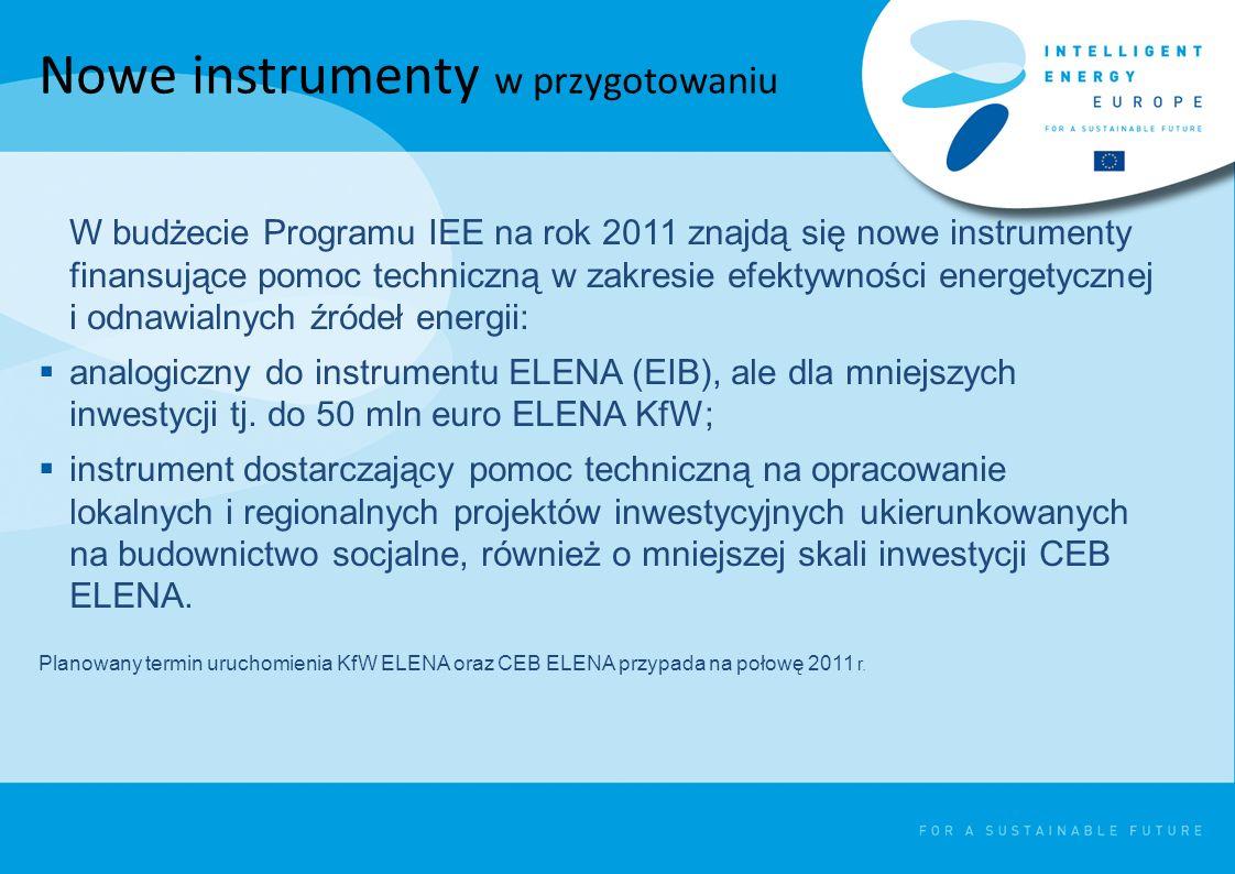 Nowe instrumenty w przygotowaniu W budżecie Programu IEE na rok 2011 znajdą się nowe instrumenty finansujące pomoc techniczną w zakresie efektywności energetycznej i odnawialnych źródeł energii: analogiczny do instrumentu ELENA (EIB), ale dla mniejszych inwestycji tj.