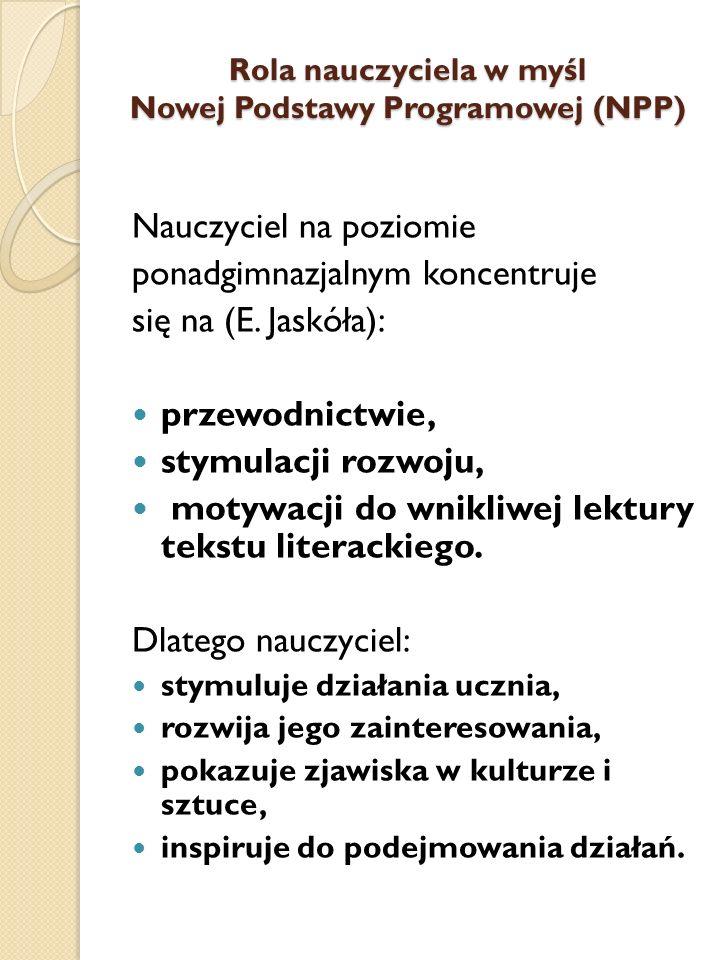 DOMINUJĄCA ZASADA W NPP W NPP dominuje zasada: nierozdzielania elementów z zakresu językoznawstwa i literaturoznawstwa.