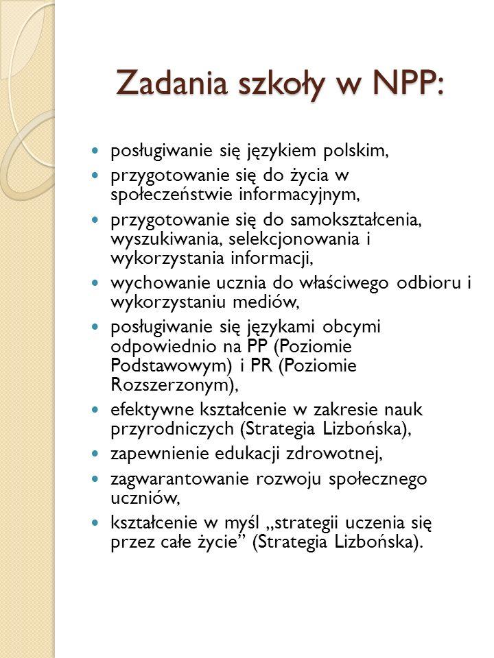 Zadania szkoły w NPP: posługiwanie się językiem polskim, przygotowanie się do życia w społeczeństwie informacyjnym, przygotowanie się do samokształcen
