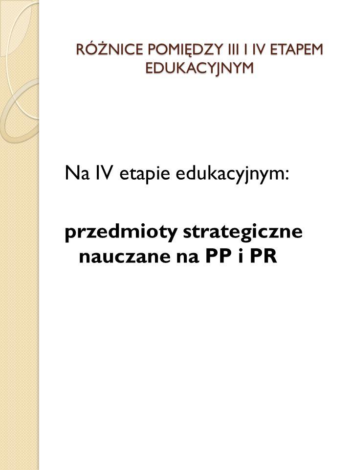 RÓŻNICE POMIĘDZY III I IV ETAPEM EDUKACYJNYM Na IV etapie edukacyjnym: przedmioty strategiczne nauczane na PP i PR