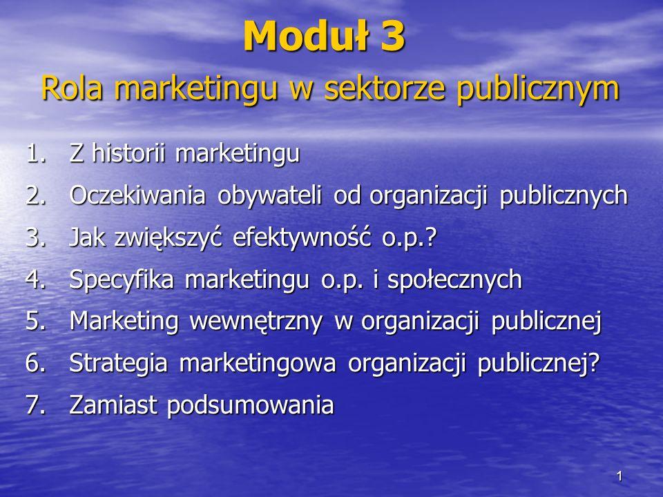 1.Z historii marketingu 2.Oczekiwania obywateli od organizacji publicznych 3.Jak zwiększyć efektywność o.p.? 4.Specyfika marketingu o.p. i społecznych