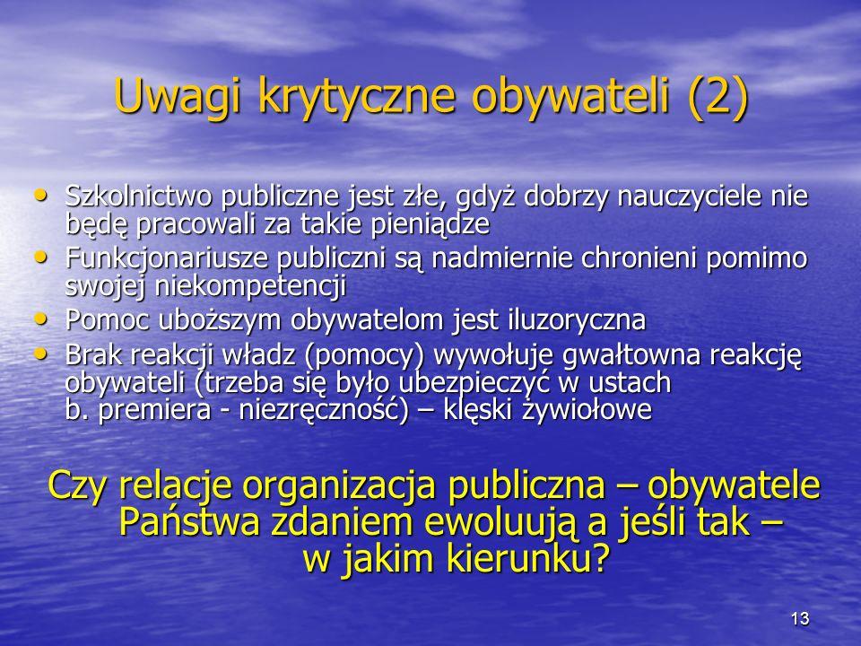Uwagi krytyczne obywateli (2) Szkolnictwo publiczne jest złe, gdyż dobrzy nauczyciele nie będę pracowali za takie pieniądze Szkolnictwo publiczne jest