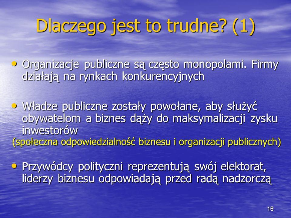 Dlaczego jest to trudne? (1) Organizacje publiczne są często monopolami. Firmy działają na rynkach konkurencyjnych Organizacje publiczne są często mon