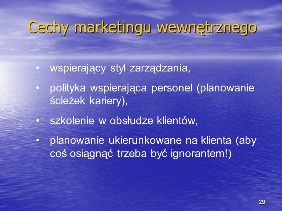wspierający styl zarządzania, polityka wspierająca personel (planowanie ścieżek kariery), szkolenie w obsłudze klientów, planowanie ukierunkowane na k