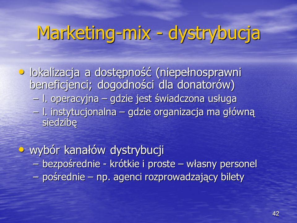 Marketing-mix - dystrybucja lokalizacja a dostępność (niepełnosprawni beneficjenci; dogodności dla donatorów) lokalizacja a dostępność (niepełnosprawn