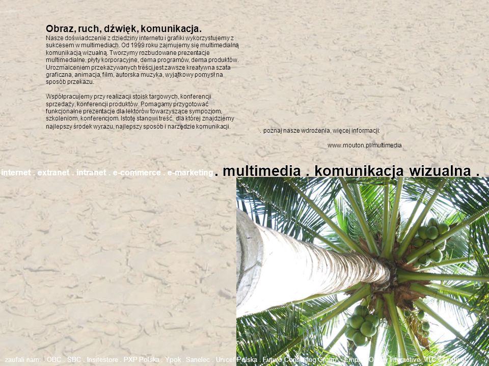 . poznaj nasze wdrożenia, więcej informacji: www.mouton.pl/multimedia internet. extranet. intranet. e-commerce. e-marketing. multimedia. komunikacja w