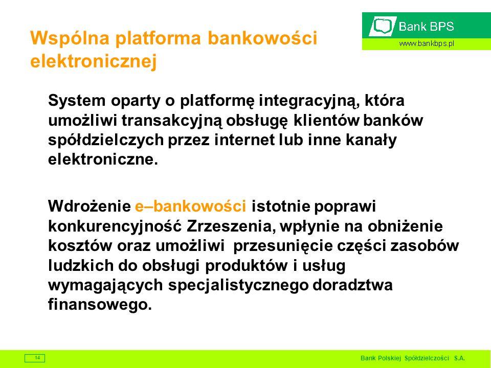Bank Polskiej Spółdzielczości S.A. 14 Wspólna platforma bankowości elektronicznej System oparty o platformę integracyjną, która umożliwi transakcyjną