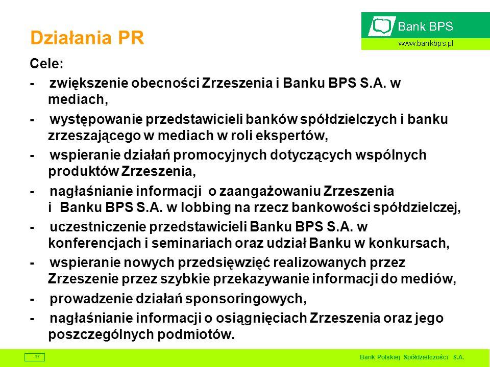 Bank Polskiej Spółdzielczości S.A. 17 Działania PR Cele: - zwiększenie obecności Zrzeszenia i Banku BPS S.A. w mediach, - występowanie przedstawicieli