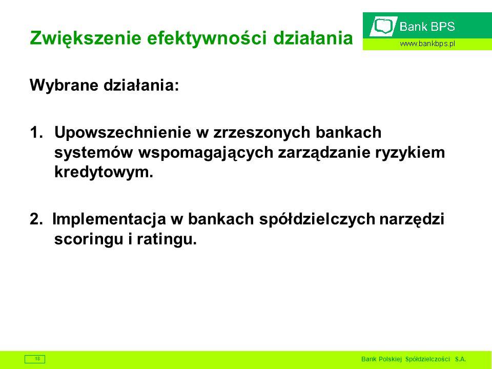 Bank Polskiej Spółdzielczości S.A. 18 Zwiększenie efektywności działania Wybrane działania: 1.Upowszechnienie w zrzeszonych bankach systemów wspomagaj