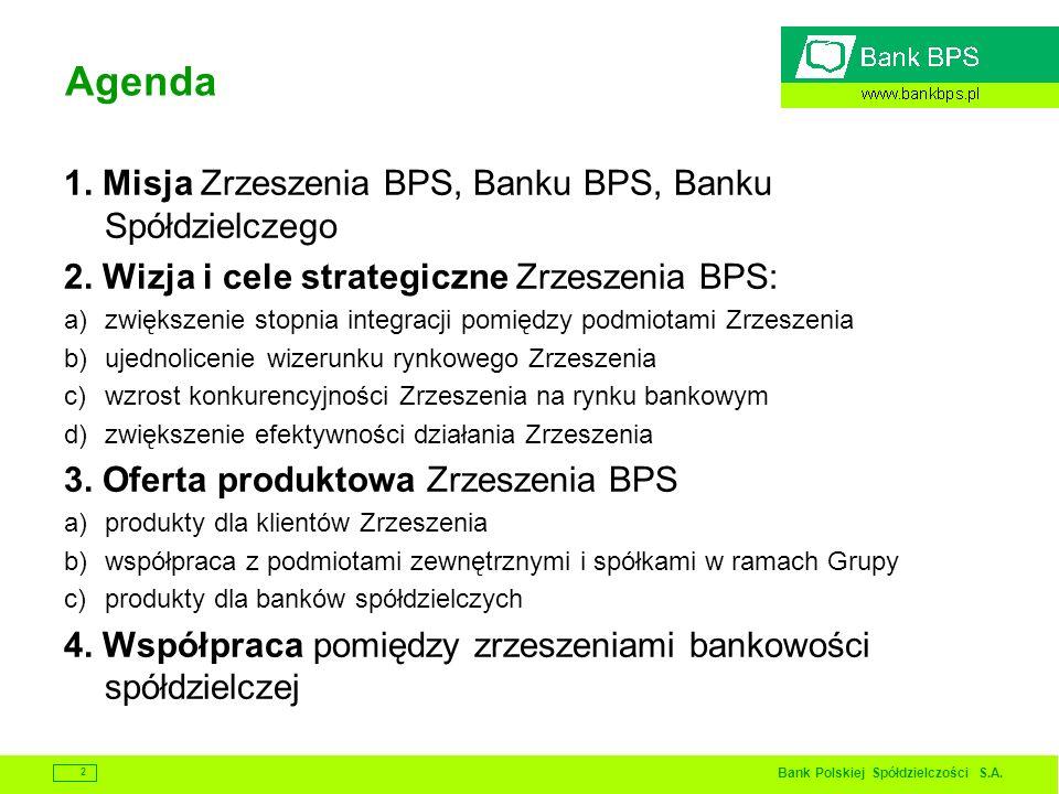 Bank Polskiej Spółdzielczości S.A. 2 Agenda 1. Misja Zrzeszenia BPS, Banku BPS, Banku Spółdzielczego 2. Wizja i cele strategiczne Zrzeszenia BPS: a)zw