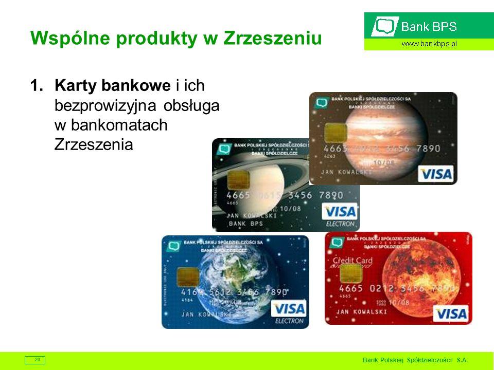 Bank Polskiej Spółdzielczości S.A. 20 Wspólne produkty w Zrzeszeniu 1.Karty bankowe i ich bezprowizyjna obsługa w bankomatach Zrzeszenia