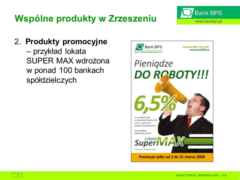 Bank Polskiej Spółdzielczości S.A. 21 Wspólne produkty w Zrzeszeniu 2. Produkty promocyjne – przykład lokata SUPER MAX wdrożona w ponad 100 bankach sp