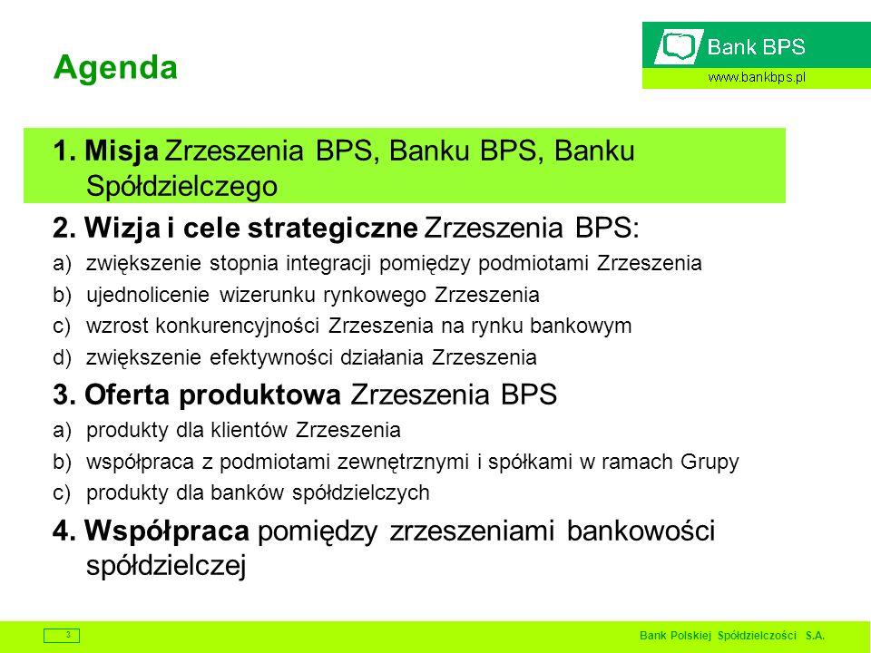 Bank Polskiej Spółdzielczości S.A. 3 Agenda 1. Misja Zrzeszenia BPS, Banku BPS, Banku Spółdzielczego 2. Wizja i cele strategiczne Zrzeszenia BPS: a)zw