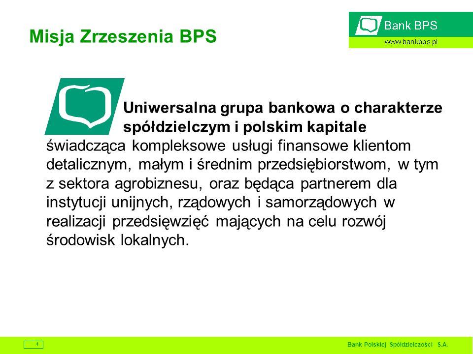 Bank Polskiej Spółdzielczości S.A. 4 Misja Zrzeszenia BPS Uniwersalna grupa bankowa o charakterze spółdzielczym i polskim kapitale świadcząca kompleks