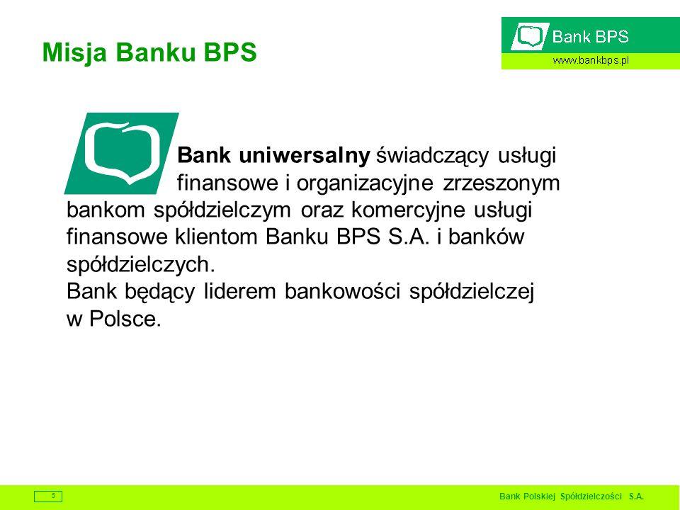 Bank Polskiej Spółdzielczości S.A. 5 Misja Banku BPS Bank uniwersalny świadczący usługi finansowe i organizacyjne zrzeszonym bankom spółdzielczym oraz