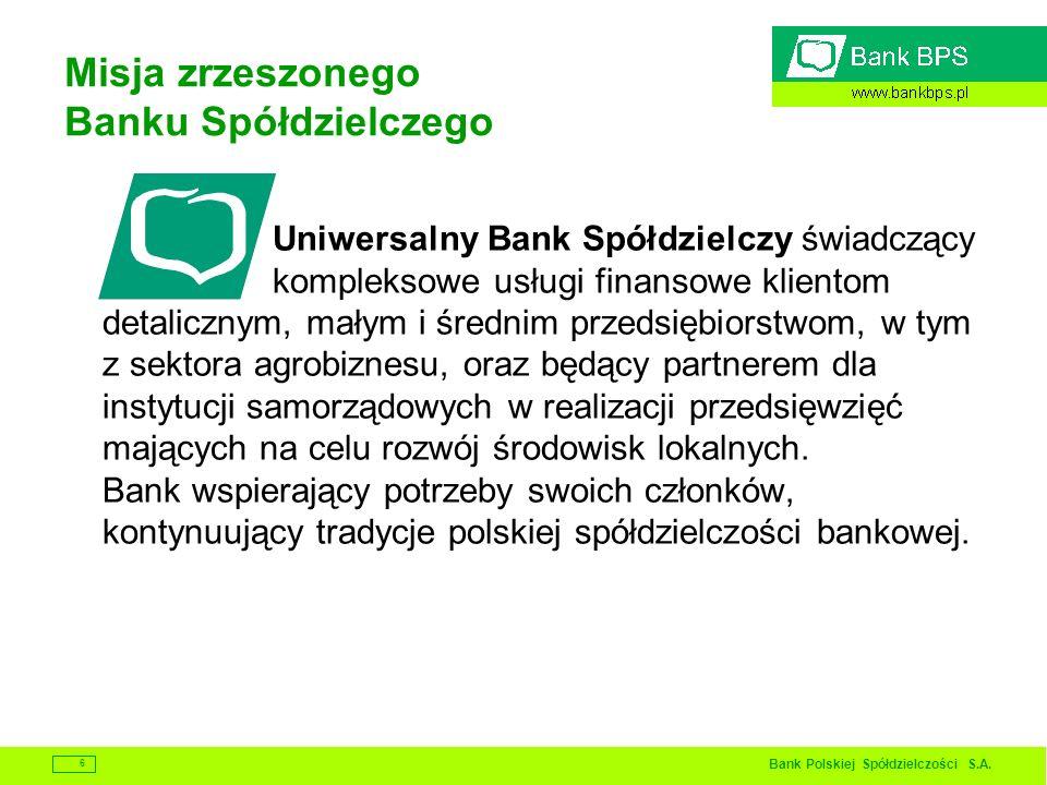 Bank Polskiej Spółdzielczości S.A. 6 Misja zrzeszonego Banku Spółdzielczego Uniwersalny Bank Spółdzielczy świadczący kompleksowe usługi finansowe klie