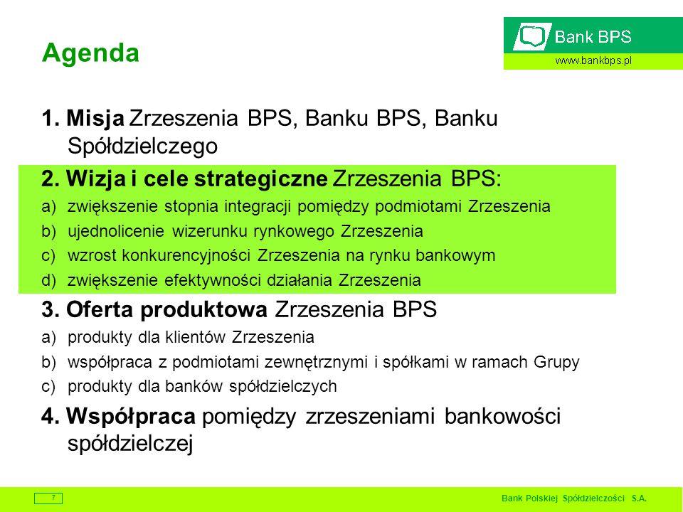 Bank Polskiej Spółdzielczości S.A. 7 Agenda 1. Misja Zrzeszenia BPS, Banku BPS, Banku Spółdzielczego 2. Wizja i cele strategiczne Zrzeszenia BPS: a)zw