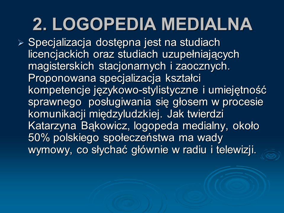 2. LOGOPEDIA MEDIALNA Specjalizacja dostępna jest na studiach licencjackich oraz studiach uzupełniających magisterskich stacjonarnych i zaocznych. Pro