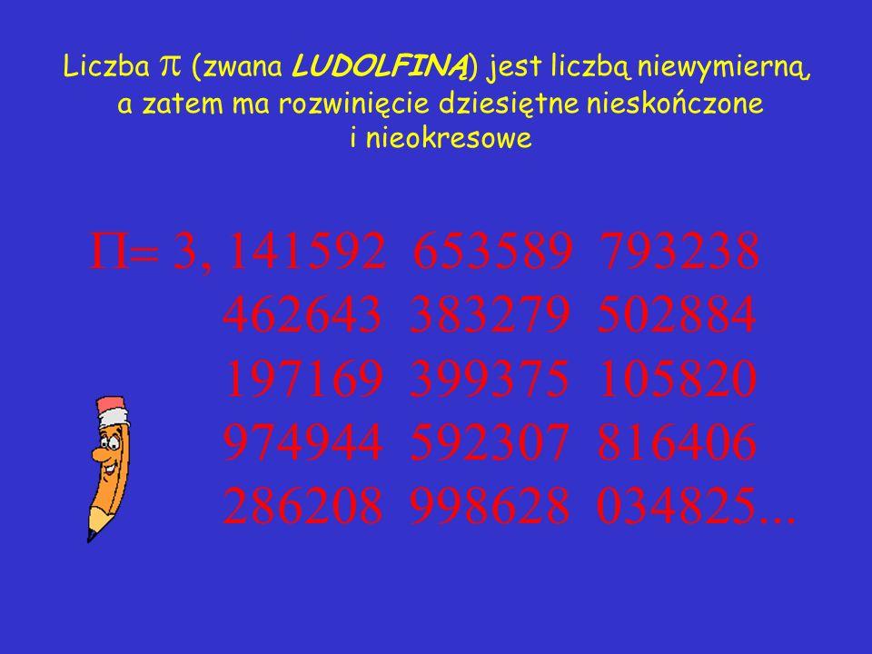 Już w czasach starożytnych zauważono, że stosunek długości okręgu do długości jego średnicy jest dla wszystkich okręgów taką samą liczbą d ł u g o ś ć
