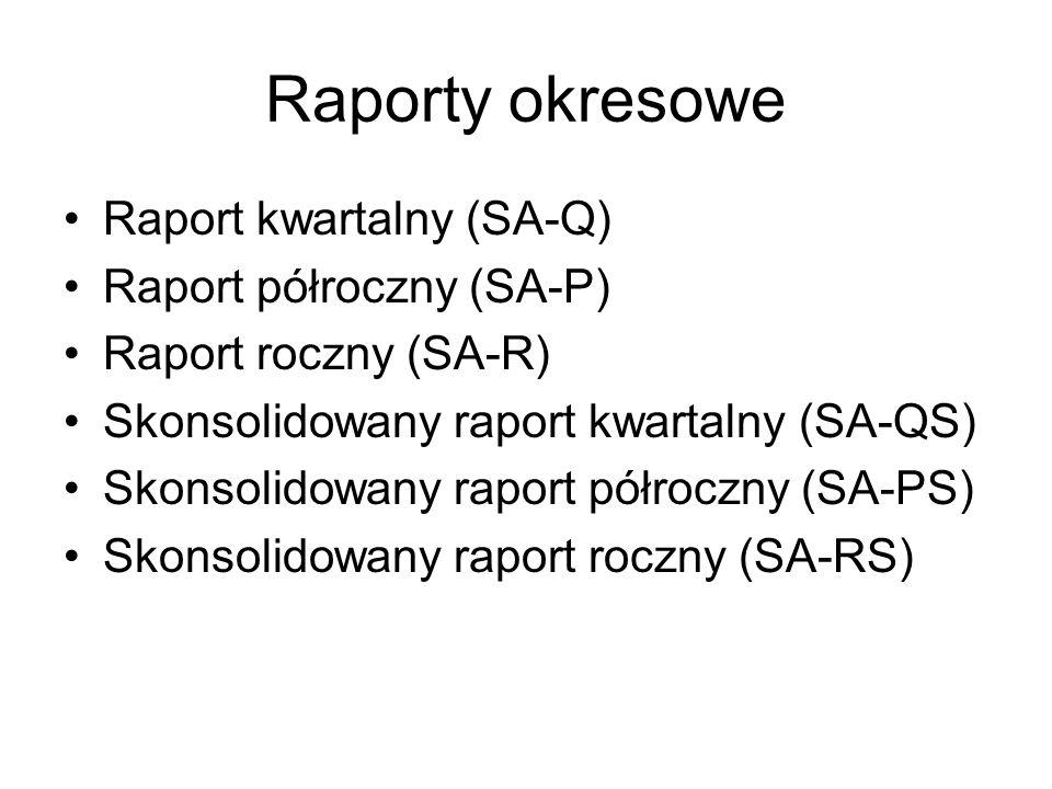 Raporty okresowe Raport kwartalny (SA-Q) Raport półroczny (SA-P) Raport roczny (SA-R) Skonsolidowany raport kwartalny (SA-QS) Skonsolidowany raport pó