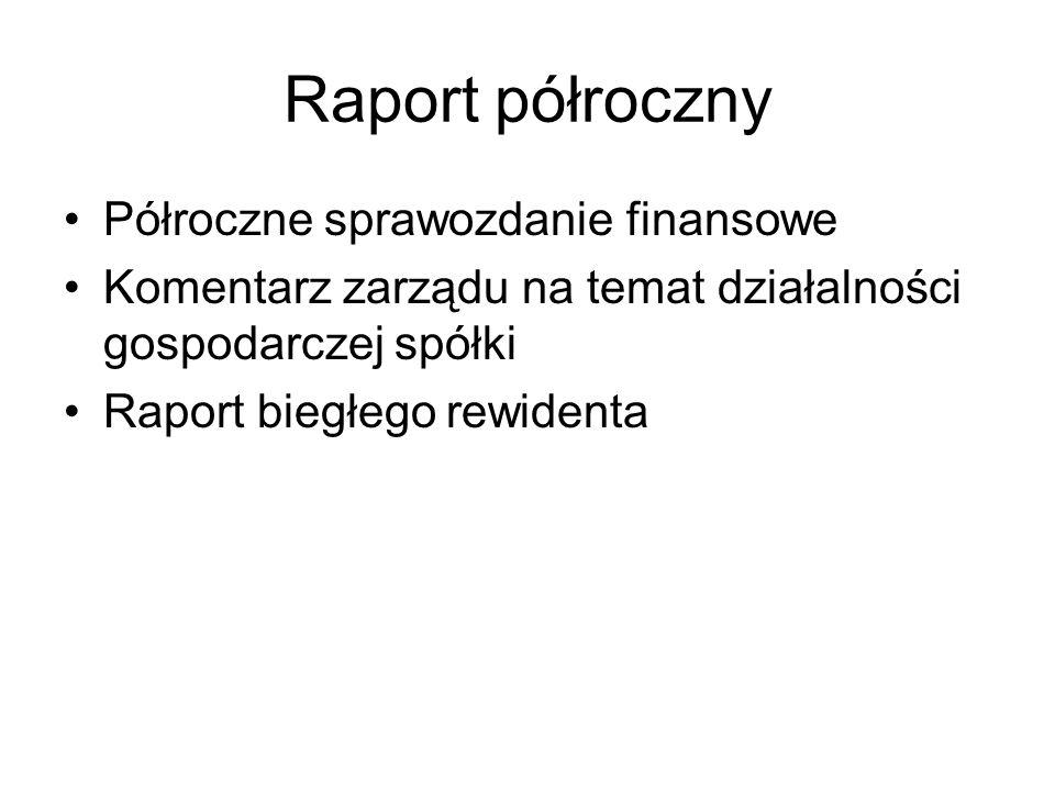 Raport półroczny Półroczne sprawozdanie finansowe Komentarz zarządu na temat działalności gospodarczej spółki Raport biegłego rewidenta