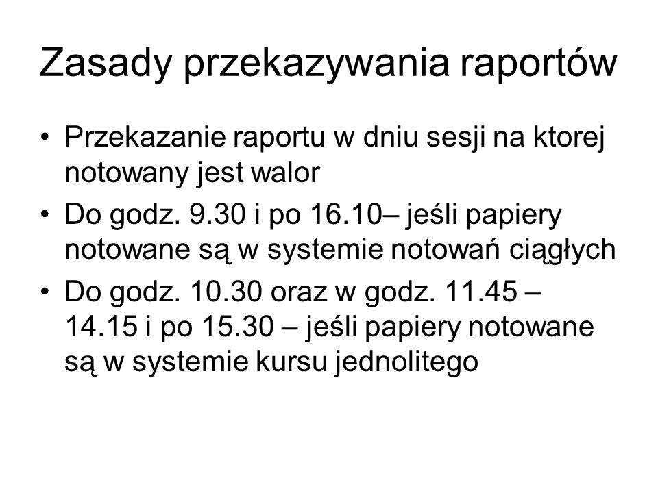 Zasady przekazywania raportów Przekazanie raportu w dniu sesji na ktorej notowany jest walor Do godz. 9.30 i po 16.10– jeśli papiery notowane są w sys