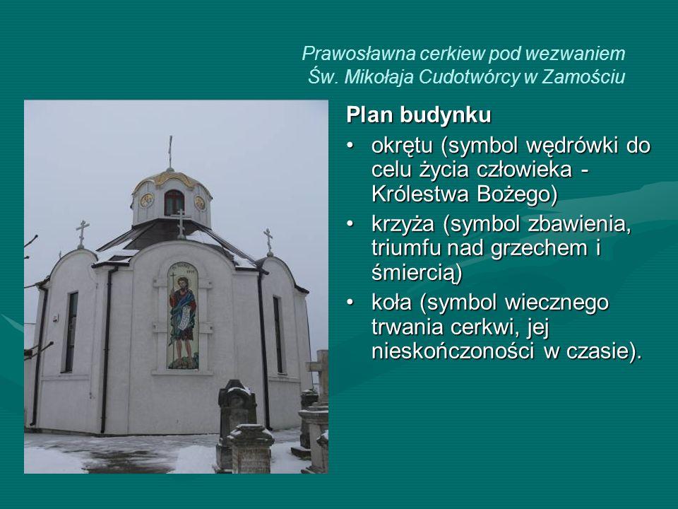 Prawosławna cerkiew pod wezwaniem Św. Mikołaja Cudotwórcy w Zamościu Plan budynku okrętu (symbol wędrówki do celu życia człowieka - Królestwa Bożego)