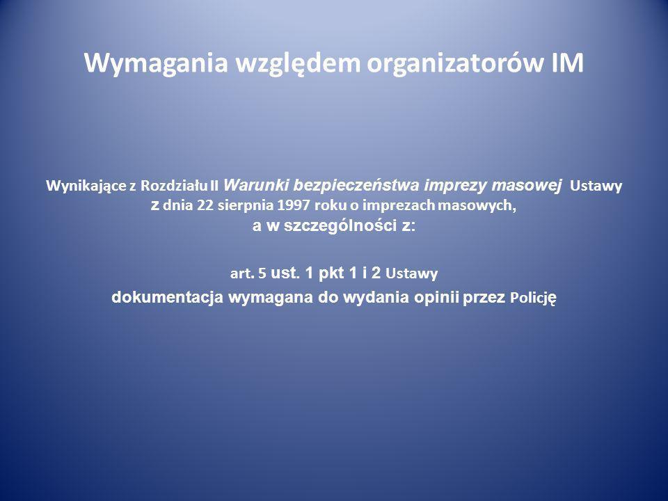Wymagania względem organizatorów IM Wynikające z Rozdziału II Warunki bezpieczeństwa imprezy masowej Ustawy z dnia 22 sierpnia 1997 roku o imprezach m