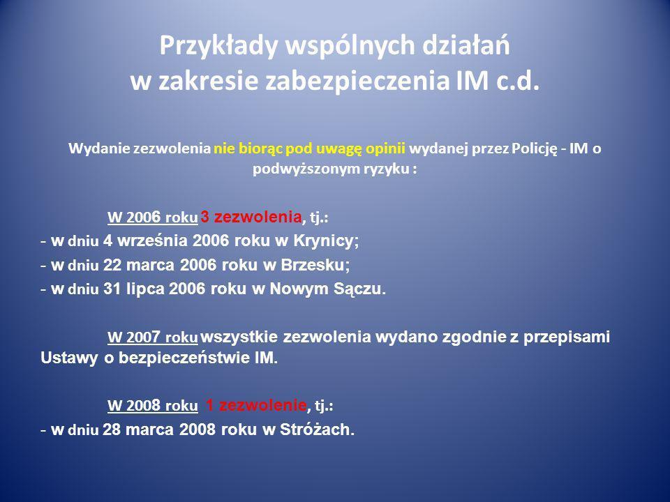 Przykłady wspólnych działań w zakresie zabezpieczenia IM c.d. Wydanie zezwolenia nie biorąc pod uwagę opinii wydanej przez Policję - IM o podwyższonym