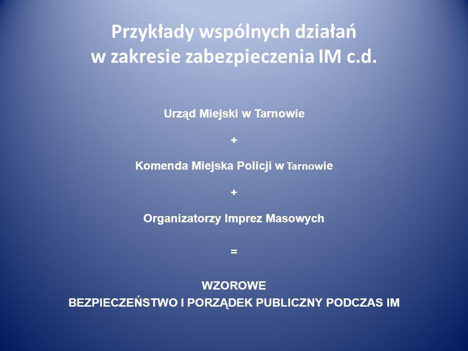Przykłady wspólnych działań w zakresie zabezpieczenia IM c.d. Urząd Miejski w Tarnowie + Komenda Miejska Policji w Tarnow ie + Organizatorzy Imprez Ma