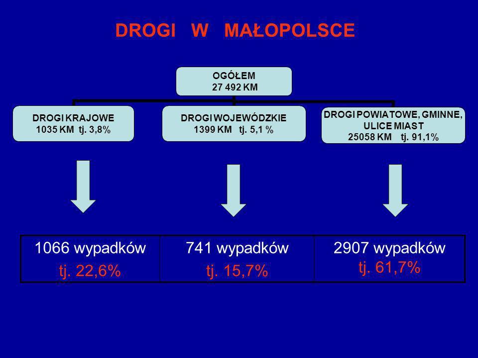 DROGI W MAŁOPOLSCE OGÓŁEM 27 492 KM DROGI KRAJOWE 1035 KM tj. 3,8% DROGI WOJEWÓDZKIE 1399 KM tj. 5,1 % DROGI POWIATOWE, GMINNE, ULICE MIAST 25058 KM t