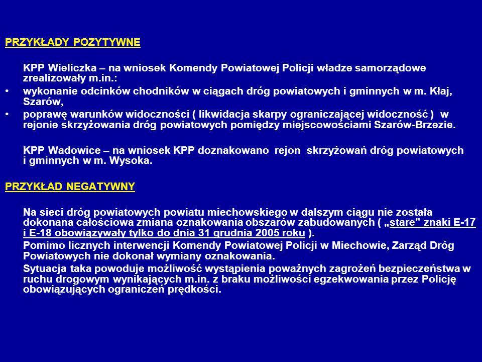 PRZYKŁADY POZYTYWNE KPP Wieliczka – na wniosek Komendy Powiatowej Policji władze samorządowe zrealizowały m.in.: wykonanie odcinków chodników w ciągac