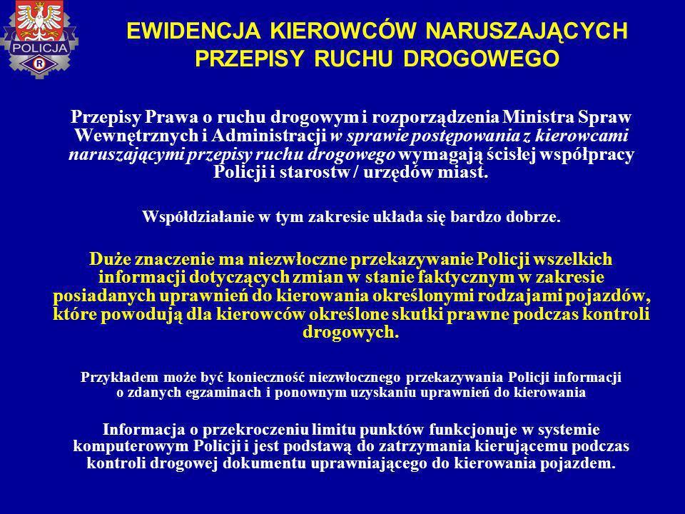 EWIDENCJA KIEROWCÓW NARUSZAJĄCYCH PRZEPISY RUCHU DROGOWEGO Przepisy Prawa o ruchu drogowym i rozporządzenia Ministra Spraw Wewnętrznych i Administracj