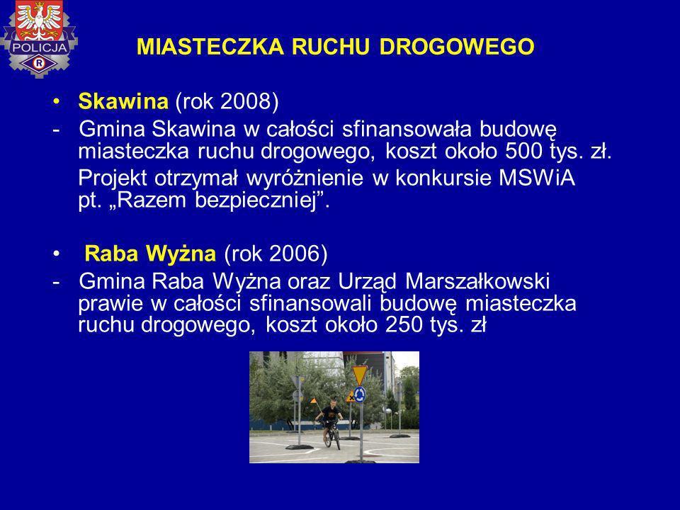 MIASTECZKA RUCHU DROGOWEGO Skawina (rok 2008) - Gmina Skawina w całości sfinansowała budowę miasteczka ruchu drogowego, koszt około 500 tys. zł. Proje