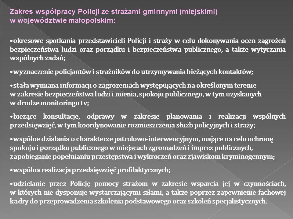 Zakres współpracy Policji ze strażami gminnymi (miejskimi) w województwie małopolskim: okresowe spotkania przedstawicieli Policji i straży w celu doko