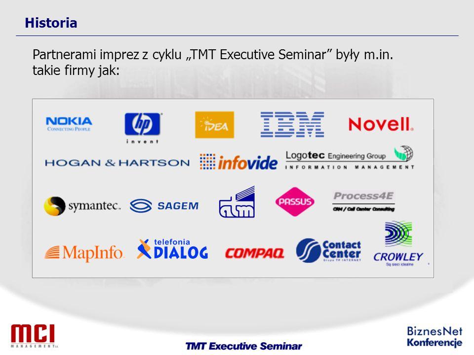Historia Partnerami imprez z cyklu TMT Executive Seminar były m.in. takie firmy jak: