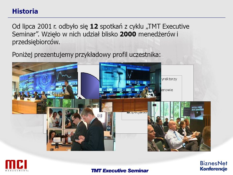 Historia Od lipca 2001 r. odbyło się 12 spotkań z cyklu TMT Executive Seminar.