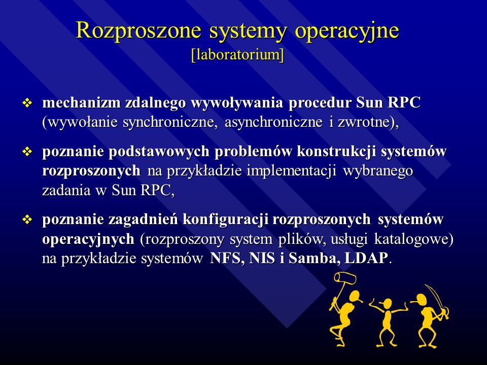Rozproszone systemy operacyjne [laboratorium] mechanizm zdalnego wywoływania procedur Sun RPC (wywołanie synchroniczne, asynchroniczne i zwrotne), mechanizm zdalnego wywoływania procedur Sun RPC (wywołanie synchroniczne, asynchroniczne i zwrotne), poznanie podstawowych problemów konstrukcji systemów rozproszonych na przykładzie implementacji wybranego zadania w Sun RPC, poznanie podstawowych problemów konstrukcji systemów rozproszonych na przykładzie implementacji wybranego zadania w Sun RPC, poznanie zagadnień konfiguracji rozproszonych systemów operacyjnych (rozproszony system plików, usługi katalogowe) na przykładzie systemów NFS, NIS i Samba, LDAP.