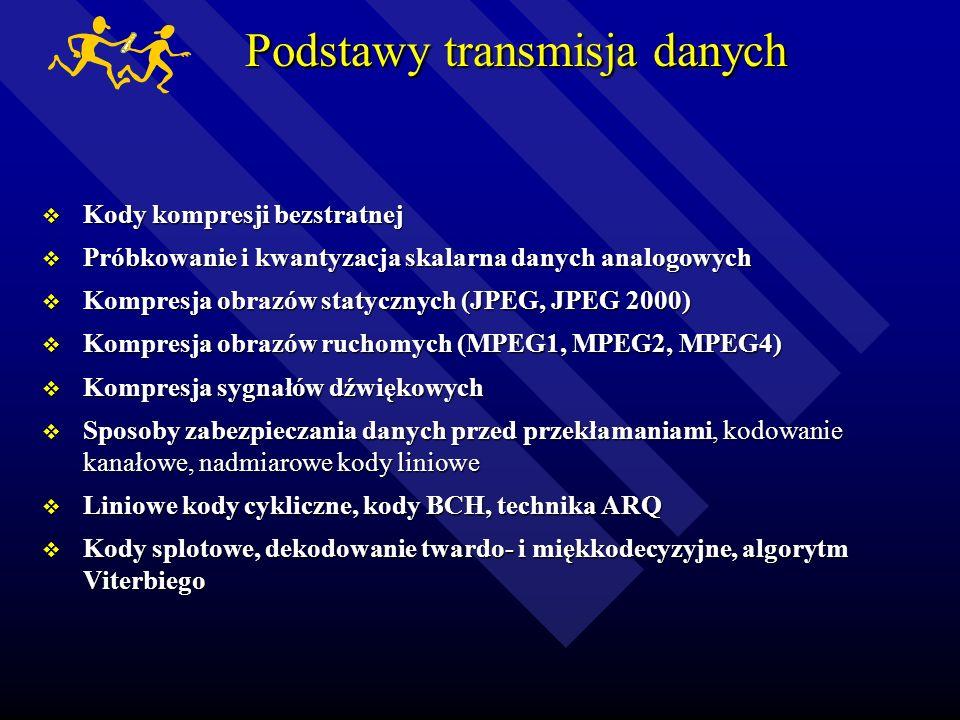 Podstawy transmisja danych Model systemu transmisji danych. Pojęcie informacji, sposoby fizycznej reprezentacji danych, pojęcie kanału transmisyjnego,