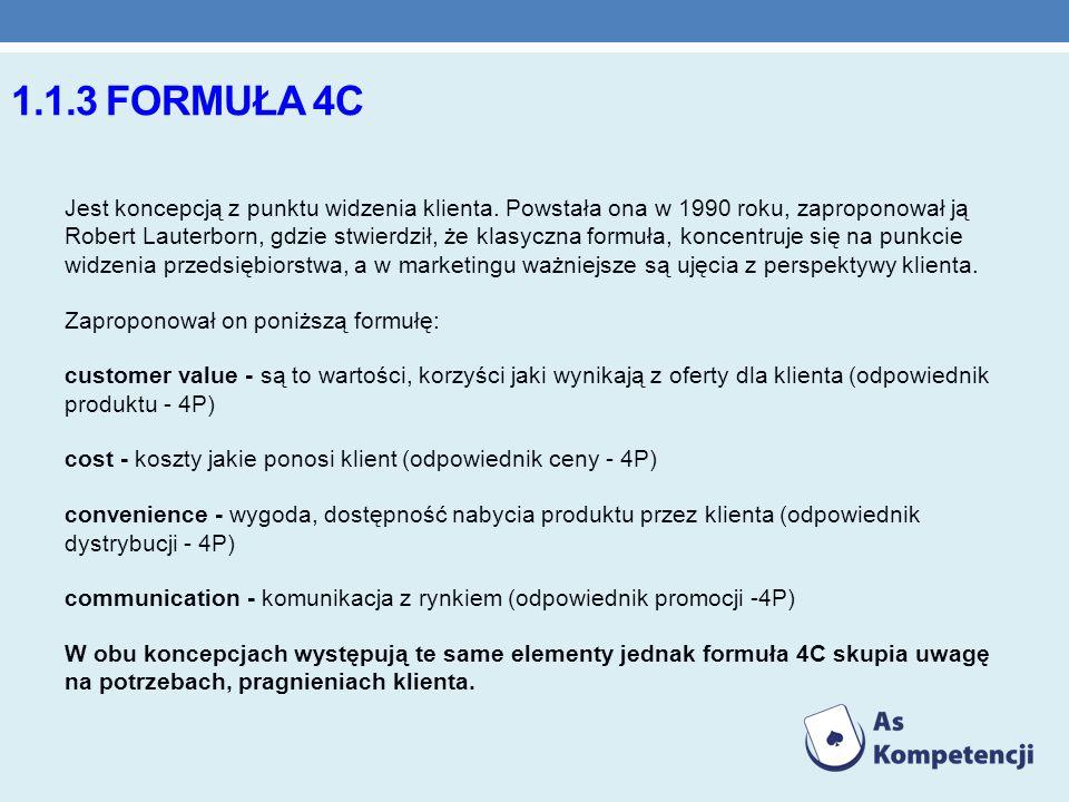 1.1.3 FORMUŁA 4C Jest koncepcją z punktu widzenia klienta. Powstała ona w 1990 roku, zaproponował ją Robert Lauterborn, gdzie stwierdził, że klasyczna