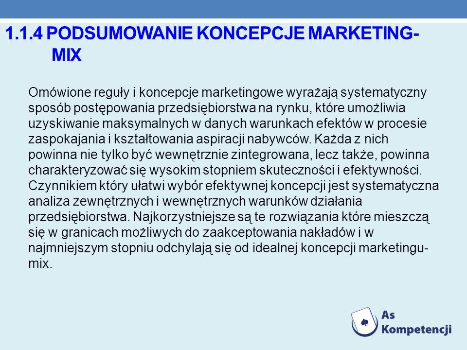 1.1.4 PODSUMOWANIE KONCEPCJE MARKETING- MIX Omówione reguły i koncepcje marketingowe wyrażają systematyczny sposób postępowania przedsiębiorstwa na ry