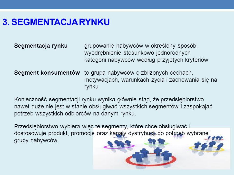 3. SEGMENTACJA RYNKU Segmentacja rynkugrupowanie nabywców w określony sposób, wyodrębnienie stosunkowo jednorodnych kategorii nabywców według przyjęty