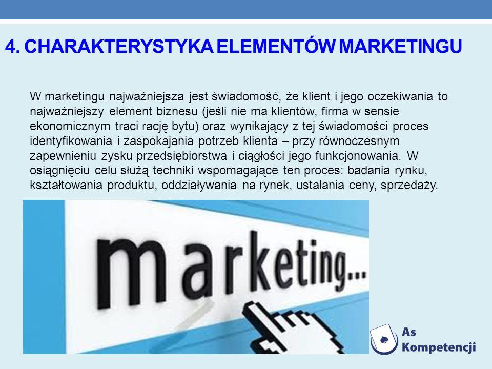 4. CHARAKTERYSTYKA ELEMENTÓW MARKETINGU W marketingu najważniejsza jest świadomość, że klient i jego oczekiwania to najważniejszy element biznesu (jeś