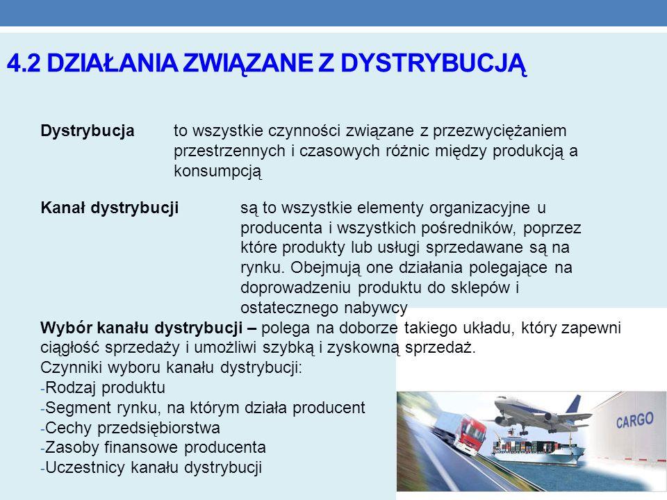 4.2 DZIAŁANIA ZWIĄZANE Z DYSTRYBUCJĄ Dystrybucjato wszystkie czynności związane z przezwyciężaniem przestrzennych i czasowych różnic między produkcją