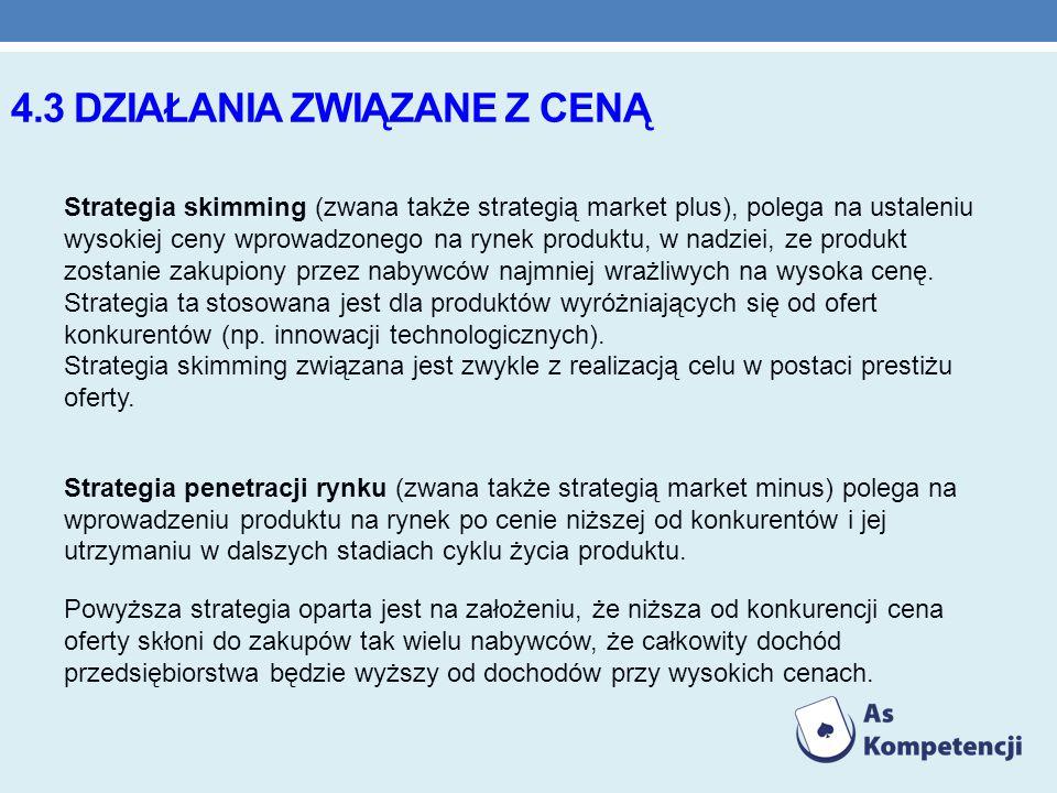 4.3 DZIAŁANIA ZWIĄZANE Z CENĄ Strategia skimming (zwana także strategią market plus), polega na ustaleniu wysokiej ceny wprowadzonego na rynek produkt