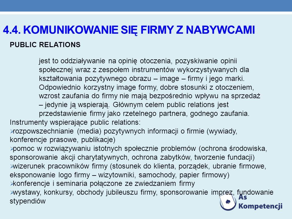 4.4. KOMUNIKOWANIE SIĘ FIRMY Z NABYWCAMI PUBLIC RELATIONS jest to oddziaływanie na opinię otoczenia, pozyskiwanie opinii społecznej wraz z zespołem in