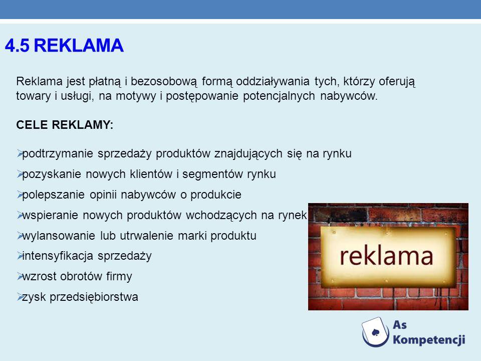 4.5 REKLAMA Reklama jest płatną i bezosobową formą oddziaływania tych, którzy oferują towary i usługi, na motywy i postępowanie potencjalnych nabywców